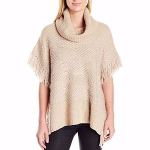 Lucky Brand Textured Fringe Poncho Sweater Medium